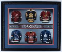 22x26 Custom Framed Photo Display Signed by (6) with Gordie Howe, Bobby Orr, Bobby Hull, Eddie Giacomin, Jean Beliveau, & Darryl Sittler (PSA LOA) at PristineAuction.com