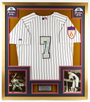 "Mickey Mantle Signed 32x36 Custom Framed Jersey Display Inscribed ""No. 7"" (PSA LOA) at PristineAuction.com"