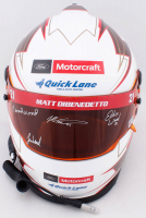 Wood Brothers NASCAR Full-Size Helmet Signed by (4) with Matt DiBenedetto, Eddie Wood, Len Wood, & Leonard Wood (PA COA) at PristineAuction.com