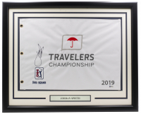 Jordan Spieth Signed 2019 Travelers Championship 21x27 Custom Framed Golf Flag Display (Beckett COA) at PristineAuction.com
