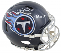 "A.J. Brown Signed Titans Full-Size Authentic On-Field Speed Helmet Inscribed ""Titan Up"" (Beckett COA) at PristineAuction.com"