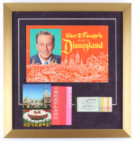 1962 Walt Disney's Guide to Disneyland 18x19 Custom Framed Book Display With Vintage Ticket Book, Postcard & Bag at PristineAuction.com