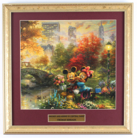 "Thomas Kinkade ""Mickey & Minnie In Central Park"" 16x16 Custom Framed Print Display at PristineAuction.com"