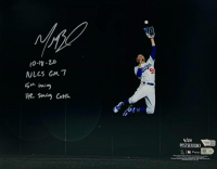 "Mookie Betts Signed Dodgers 11x14 Photo Inscribed ""10-18-20"", ""NLCS GM 7"", ""5th Inning"" & ""HR Saving Catch"" (Fanatics Hologram) at PristineAuction.com"