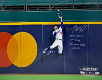 """Mookie Betts Signed Dodgers 16x20 Photo Inscribed """"10-18-20"""", """"NLCS GM 7"""", """"5th Inning"""" & """"HR Saving Catch"""" (Fanatics Hologram) at PristineAuction.com"""