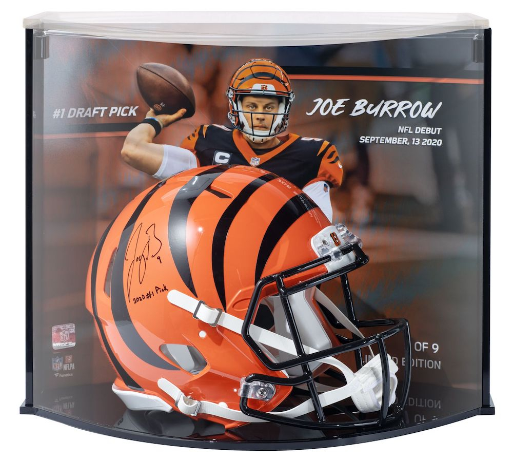 """Joe Burrow Signed Bengals Authentic On-Field Speed Helmet with LE Custom Curve Display Inscribed """"2020 #1 Pick"""" (Fanatics Hologram) at PristineAuction.com"""