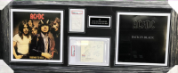 """AC/DC"" 20x47 Custom Framed Cut Display Signed by (6) with Bon Scott, Angus Young, Malcom Young, Phil Rudd, Cliff Williams & Brian Johnson (PSA Encapsulated) at PristineAuction.com"