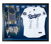 Los Angeles Dodgers 2020 World Series Champions 33x41 Custom Framed Jersey Team-Signed by (12) with Mookie Betts, Clayton Kershaw, Cody Bellinger, Corey Seager (MLB Hologram) at PristineAuction.com