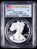 2008-W American Silver Eagle $1 One Dollar Coin - First Strike (PCGS PR70 Deep Cameo) at PristineAuction.com