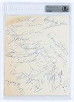 1972-73 North Stars 8.5x11 Page Team-Signed by (21) with Buster Harvey, Fred Barrett, Charlie Burns, Jude Drouin, Gilles Gilbert (BGS Encapsulated) at PristineAuction.com