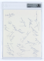 1972-73 Oilers 8.5x11 Page Team-Signed by (16) with Al Hamilton, Ross Perkins, Jim Harrison, Val Fonteyne, Rusty Patenaude (BGS Encapsulated) at PristineAuction.com