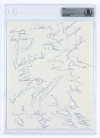 1972-73 Chicago Cougars 8.5x11 Page Team-Signed by (19) with Marcel Pronovost, Jim McLeod, Ron Anderson, Larry Cahan, Reg Fleming (BGS Encapsulated) at PristineAuction.com