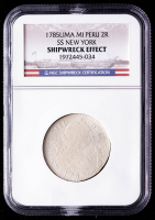 SS New York Shipwreck 1785-LIMAE MI Peru 2 Reales Silver Coin (NGC Encapsulated) at PristineAuction.com
