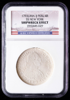 SS New York Shipwreck 1793-LIMAE IJ Peru 4 Reales Silver Coin (NGC Encapsulated) at PristineAuction.com
