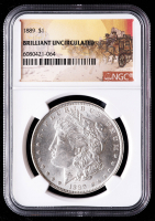 1889 Morgan Silver Dollar - Stage Coach Label (NGC Brilliant Uncirculated) at PristineAuction.com