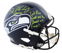 "DK Metcalf Signed Seahawks Full-Size Authentic On Field Speed Helmet Inscribed ""Let Russ Cook & The Beast Will Feast!!"" (Beckett COA) at PristineAuction.com"