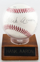 Hank Aaron Signed Braves Logo Baseball with Display Case (Beckett COA) at PristineAuction.com