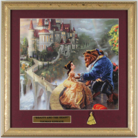 "Thomas Kinkade ""Beauty & The Beast"" 16x16 Custom Framed Print Display with Belle Lapel Pin at PristineAuction.com"