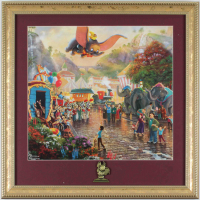 "Thomas Kinkade ""Dumbo"" 16x16 Custom Framed Print Display with Brass Dumbo Pin at PristineAuction.com"
