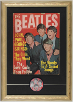 "Vintage 1964 ""The Beatles"" 13x18 Custom Framed Magazine Display with Lenticular 1964 Beatles Fan Club Pin at PristineAuction.com"