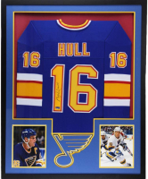Brett Hull Signed 34x42 Custom Framed Jersey (Radtke COA) at PristineAuction.com