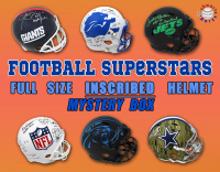 Schwartz Sports Football Superstar Signed INSCRIBED Full-Size Helmet Mystery Box - Series 1 (Limited to 100) (ALL HELMETS ARE INSCRIBED!!!!) at PristineAuction.com