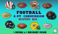 Schwartz Sports 2-Pt Conversion Full Size Football/Mini Helmet Signed Mystery Box - Series 8 (Limited to 100) (1 – Mini Helmet & 1 Football IN EVERY BOX!!) at PristineAuction.com