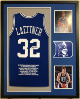 Christian Laettner Signed 34x42 Custom Framed Career Highlight Stat Jersey (JSA COA) at PristineAuction.com