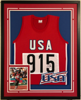 Carl Lewis Signed 34x42 Custom Framed Jersey (JSA COA) at PristineAuction.com