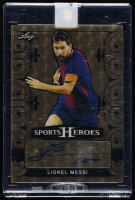 Lionel Messi Signed 2018 Leaf Metal Sports Heroes Black Etched Gold Circles #BALM2 (Leaf Encapsulated) at PristineAuction.com