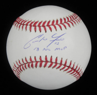 "Christian Yelich Signed OML Baseball Inscribed ""18 NL MVP"" (MLB Hologram) at PristineAuction.com"