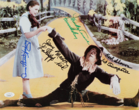 """The Wizard Of Oz"" 11x14 Photo Cast-Signed by (4) with Mickey Carroll, Jerry Maren, Donna Stewart-Hardaway, Karl Slover Inscribed ""Lollipop Kid"", ""Munchkin"", & ""1st Trumpeter"" (JSA COA) at PristineAuction.com"