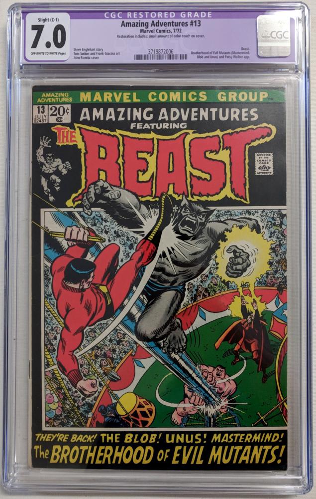 """1972 """"Amazing Adventures"""" Issue #13 Marvel Comic Book (CGC Restored 7.0) at PristineAuction.com"""