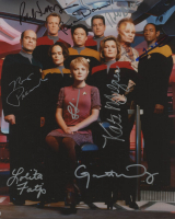 """Star Trek: Voyager"" 8x10 Photo Cast-Signed by (9) with Ethan Phillips, Kate Mulgrew, Robert Picardo (JSA ALOA) at PristineAuction.com"