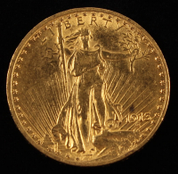 1913 $20 Twenty-Dollar Saint-Gaudens Double Eagle Gold Coin (With Motto) at PristineAuction.com