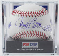 Johnny Bench Signed OML Baseball with (4) Career Stat Inscriptions with Display Case (PSA COA - Graded 9.5) at PristineAuction.com