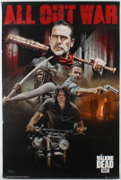 """Jeffrey Dean Morgan & Norman Reedus Signed The Walking Dead """"All Out War"""" 24x36 Poster Inscribed """"Negan"""" (Radtke COA) at PristineAuction.com"""