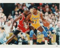 "Magic Johnson Signed Lakers 16x20 Photo Inscribed ""Showtime Vs AirJordan""(PSA Hologram) at PristineAuction.com"