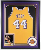 Jerry West Signed 34x42 Custom Framed Jersey (JSA COA) at PristineAuction.com