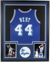 Jerry West Signed 34x42 Custom Framed Jersey (JSA COA) at PristineAuction.com