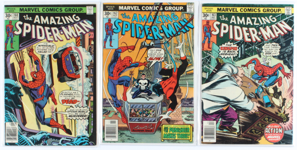 Lot of (3) Amazing Spider-Man Marvel Comic Books Issues Ranging from #160 - #163 at PristineAuction.com