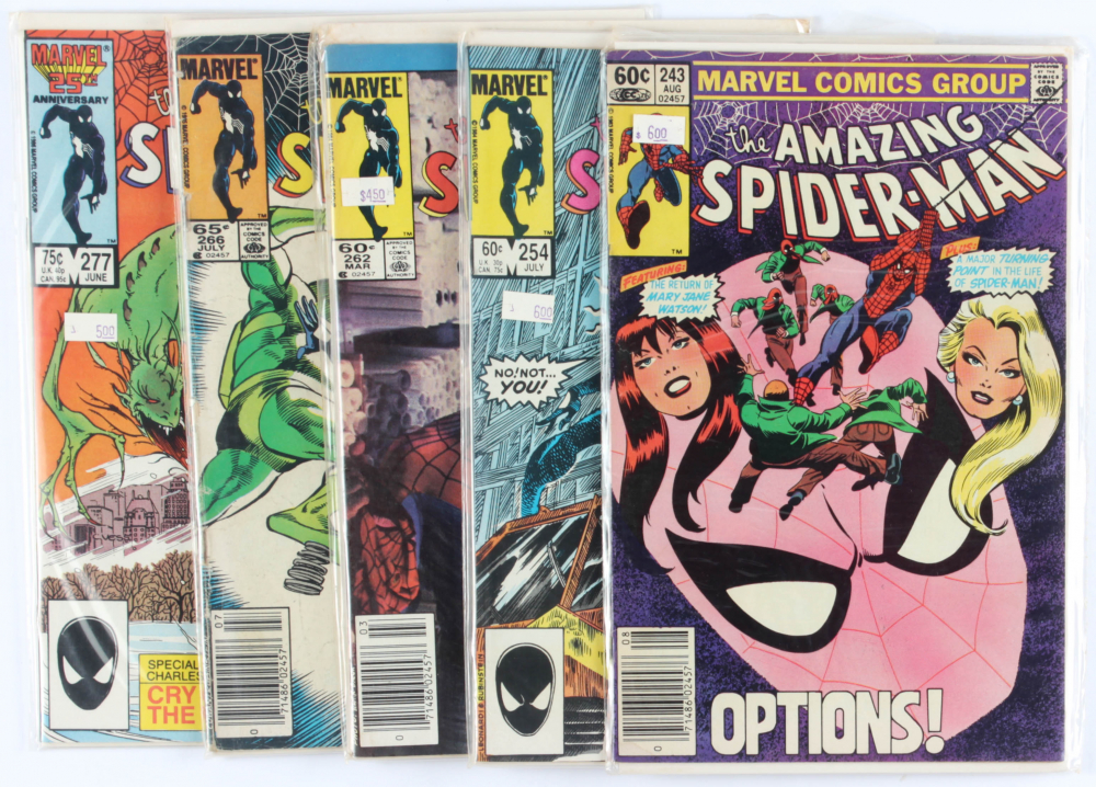 Lot of (5) Amazing Spider-Man Marvel Comic Books Issues Ranging from #243 - #277 at PristineAuction.com