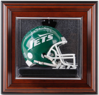 """Joe Klecko Signed Jets Mini-Helmet Inscribed """"NY Sack Exchange"""" with Custom Etched Glass Wall Mount Display Case (Gridiron Legends COA) at PristineAuction.com"""