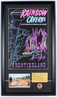 "Disneyland ""Frontierland"" 15x26 Custom Framed Print Display with Vintage Disneyland ""D"" Mine Train Ticket, Vintage Souvenir Postcard & Wooden Nickel at PristineAuction.com"