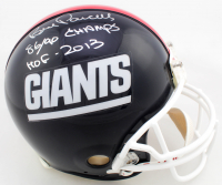 "Bill Parcells & Lawrence Taylor Signed Giants Full-Size Authentic On-Field Helmet Inscribed ""86/90 Champs"", ""HOF 2013"" & ""HOF -99"" (JSA Hologram) at PristineAuction.com"