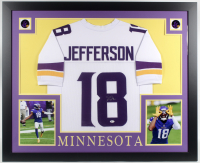 Justin Jefferson Signed 35x43 Custom Framed Jersey (Beckett COA) at PristineAuction.com