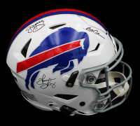 Jim Kelly, Thurman Thomas & Andre Reed Signed Bills Full-Size Authentic On-Field SpeedFlex Helmet (Radtke COA) at PristineAuction.com