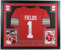 Justin Fields Signed 35x43 Custom Framed Jersey (JSA COA) at PristineAuction.com