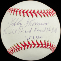 "Bobby Thomson Signed OML Baseball Inscribed ""The Shot Heard Round the World"" & "" Oct. 3, 1951"" (Beckett Hologram) at PristineAuction.com"