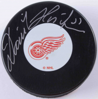Dominik Hasek Signed Red Wings Logo Hockey Puck (COJO COA) at PristineAuction.com